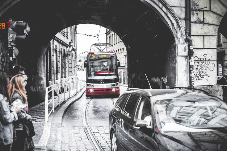 Tram Going Through The Tunnel ➤ DOWNLOAD by click on the picture ➤ #BlackAndWhite #Bridge #Bw #Cars #City #CzechRepublic #Modern #Prague #Roads #Tram #Transportation #Tunnel #Vehicles #freestockphotos #picjumbo