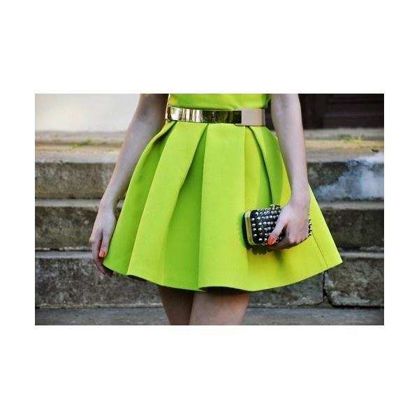 Plum / neon skirt ❤ liked on Polyvore