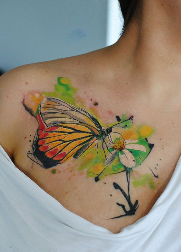 watercolor flower with butterfly tattoo - 50 Butterfly tattoos with flowers for women