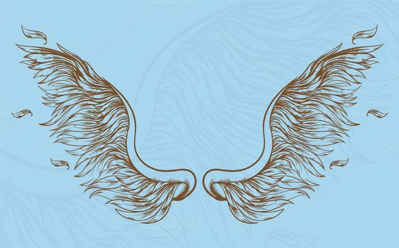 Angel wings hand drawn set by dreamwaves on Creative Market