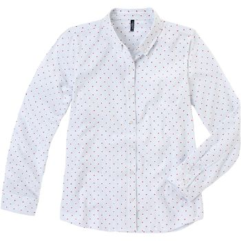 Weekend. Modelo: G815A0431575AMA. Blusa camisera de manga larga, con estampado de lunares.