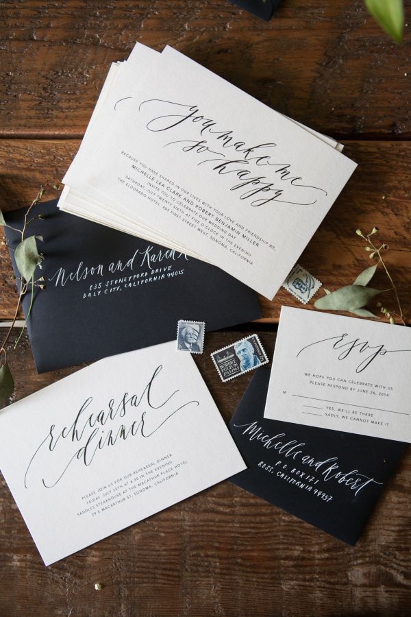 Written word calligraphy / black and white wedding invitations