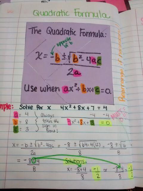 Quadratic Formula INB Page