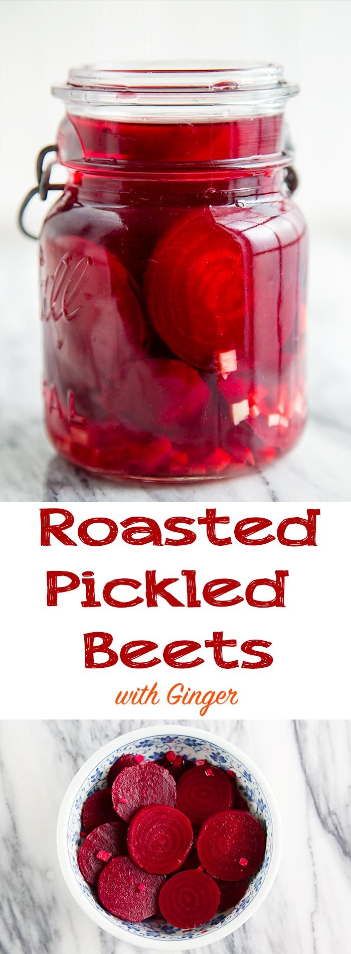 These roasted pickled beets provide a tangy accent to salads and sandwiches. A little fresh ginger root adds a subtle hint of spice.