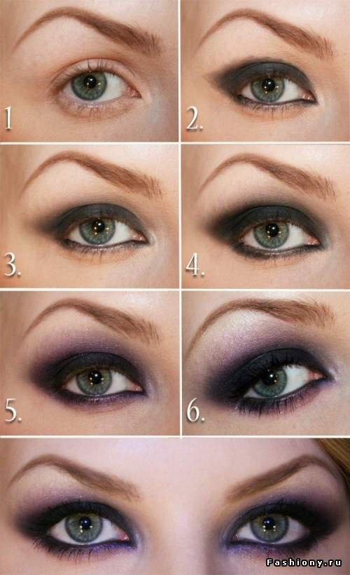 Purple dark smokey eyes makeup steps