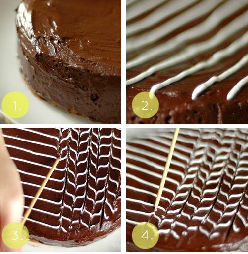 Elegant And Simple Fan And Feather Cake Decoration