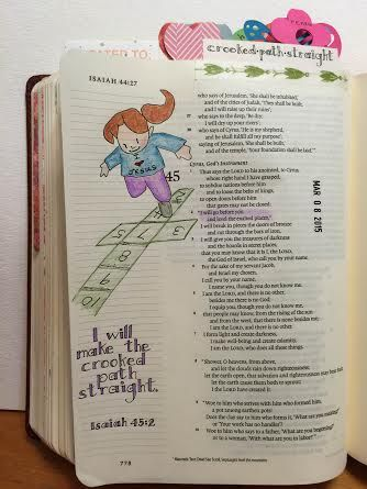 Bible art journaling - by Lynda Neal - He will make the crooked path straight (Isa. 45:2). #illustratedfaith