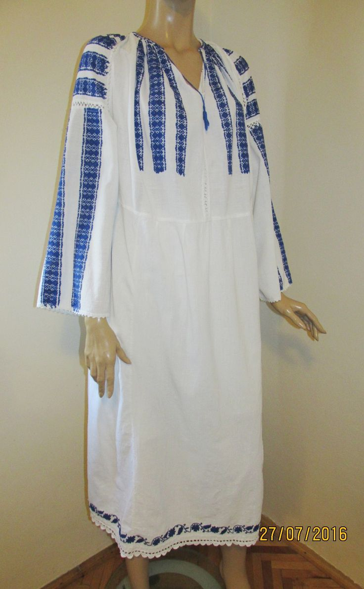 Gorgeous antique Romanian hand embroidered dress.