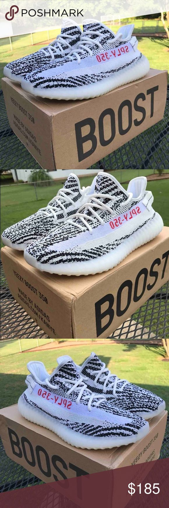 Adidas Yeezy Zebras 👀*Read the Description* These are 1:1 UA's. Literally stitch for stitch, and they're a fraction of the price. Comes with the original box. If you want yeezys but not yeezy money these are for you. In the Listing you get the zebras with the actual black light. Size 9.5/10. COMMENT IF YOU WANT ANOTHER SIZE. Yeezy Shoes Sneakers