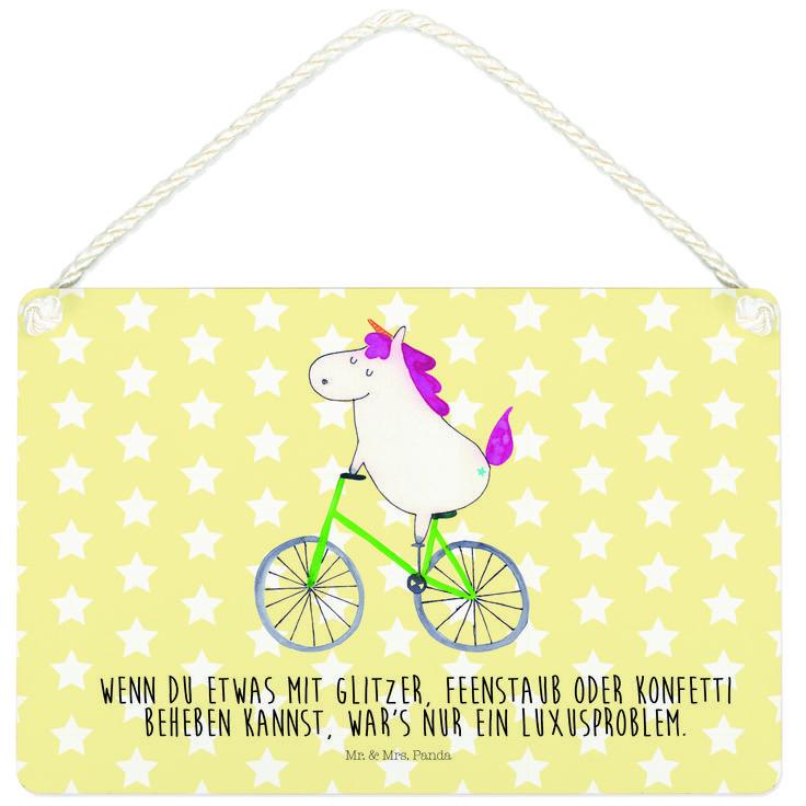 Deko Schild Einhorn Radfahrer aus MDF  Weiß - Das Original von Mr. & Mrs. Panda.  Ein wunderschönes Schild aus der Manufaktur von Mr. & Mrs. Panda - die Schilder werden von uns direkt nach der Bestellung liebevoll bedruckt und mit einer wunderschönen Kordel zum Aufhängen versehen.    Über unser Motiv Einhorn Radfahrer  Das Radfahrer-Einhorn zeigt, dass die Welt doch gar nicht so schlecht ist. Die meisten Probleme lösen sich zum Glück in Glitzer und Feenstaub auf. Also das perfekte Motiv, um…