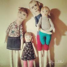 presonalised handmade fabric doll, portrait doll, family doll