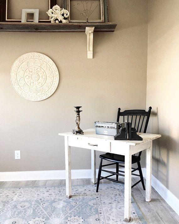 Primitive White Farmhouse Table Vintage Rustic by ChalksOLot