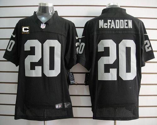 ... Nike Raiders 20 Darren McFadden Black Team Color With C Patch Mens  Embroidered NFL Elite. 1d4ba2f21