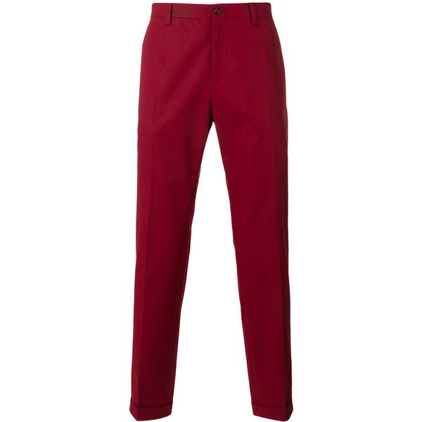 Dolce & Gabbana classic chino trousers ($675) ❤ liked on Polyvore featuring men's fashion, men's clothing, men's pants, men's casual pants, red, mens chino pants, mens red chino pants, mens red pants, mens chinos pants and mens zip off pants