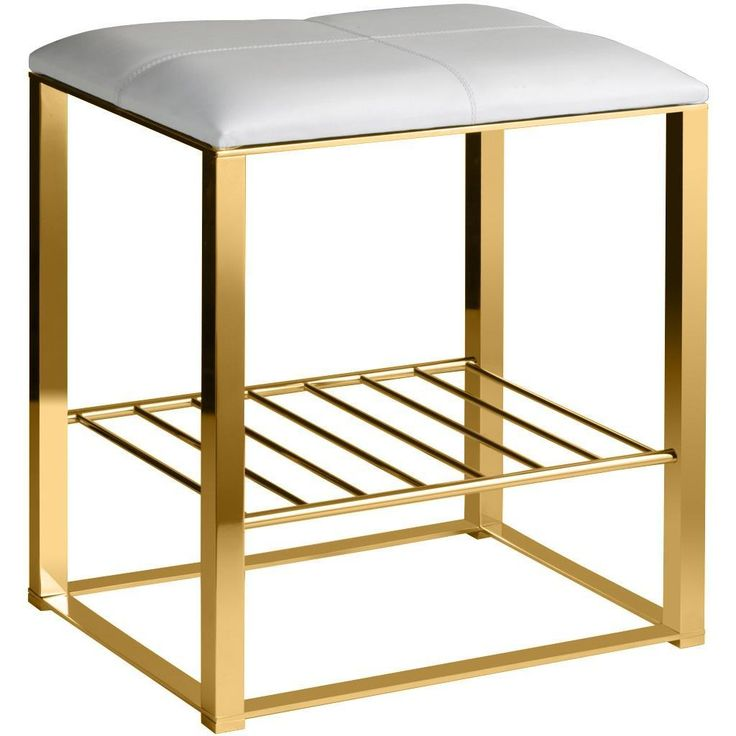 Backless Vanity Stool Bench Brass Metal Legs Leather Seat and Storage Shelf  sc 1 st  Pinterest & Best 25+ Vanity stools and benches ideas on Pinterest ... islam-shia.org
