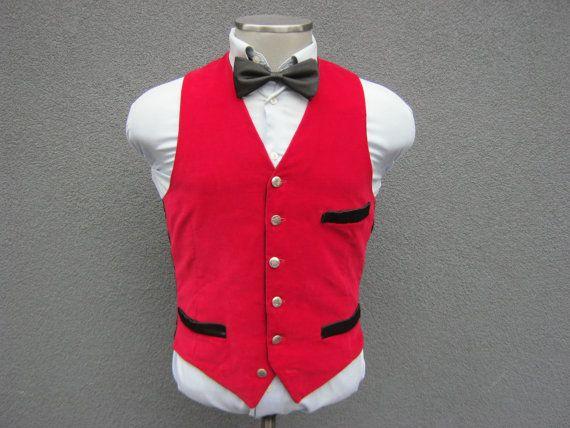 1980s Vintage Red Velvet Vest / Waistcoat / Size 38 by BudeVintage