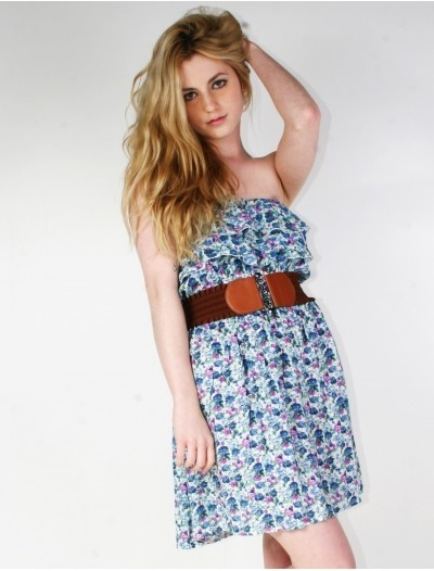 (Blue) Strapless Floral Dresses Womens Clothing Womens Fashion Summer Styles 2012   $10.96