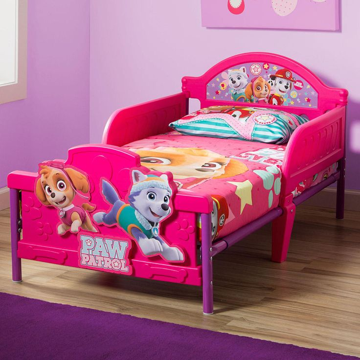 Toddler Bed Girls Paw Patrol Skye 3d Rails Headboard Pink