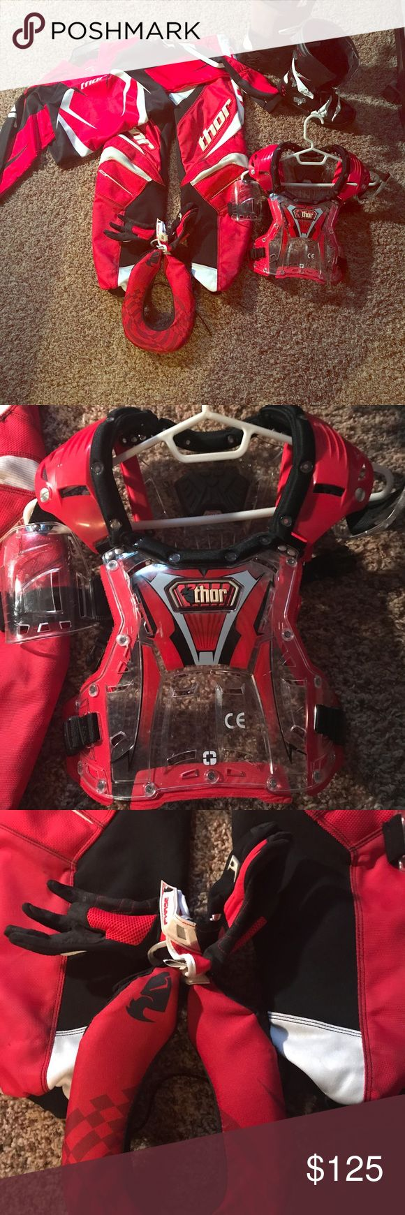 Thor Youth dirt bike racing gear Complete set of youth Thor dirt bike racing gear!!  Everything but helmet and I have the helmet as well if anyone is interested.  He wore this twice!!!!  Small stains on pants from dirt but still in VERY good condition. Other