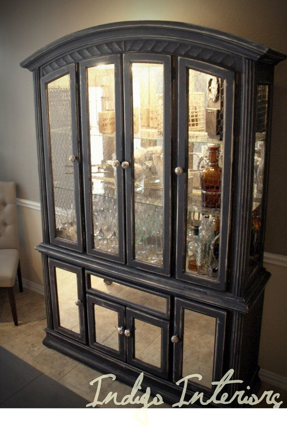 Distressed Black Mirrored China Cabinet Hutch Bar
