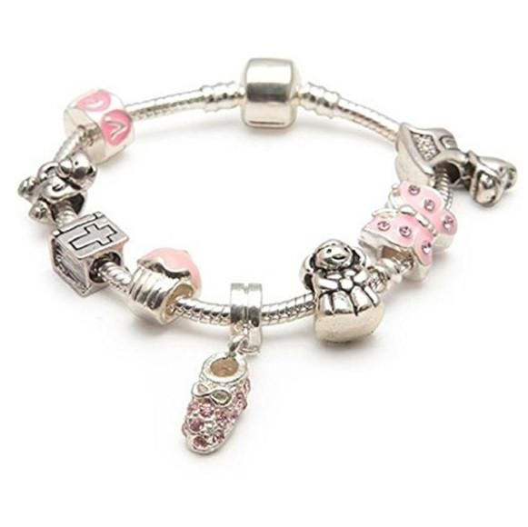 Baby Girl's Christening Charm Bracelet. This cute Baby Girls 'Little Angel' Christening Keepsake set includes a silver plated charm bracelet and a selection of beads and charms. This bracelet will make a unique christening gift or New Baby Gift