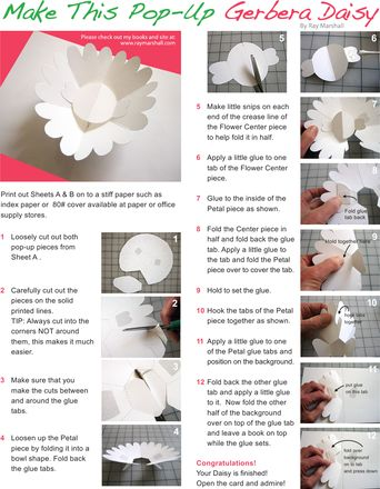 Worksheets: Make a Gerber Daisy Paper Pop-Up