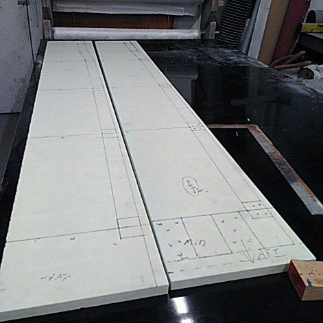 "After spending a few hours of taking measurements and drawing plans for the new and improved stringers here I begin lofting the modifications for the Dragon onto 1"" high density foam.  #boatrepairs #boatbuilding #refit #britishcolumbia #sailing #boating #woodenboats #finishing #shipwrights"