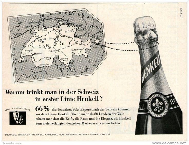 Original-Werbung/ Anzeige 1958 - HENKELL SEKT IN DER SCHWEIZ - ca. 180 x 110 mm