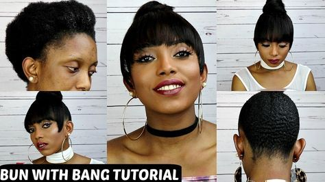How To Faux Bun With Bang Tutorial On Short Natural Hair NO GLUE NO SEW [Video]  Read the article here - http://blackhairinformation.com/video-gallery/faux-bun-bang-tutorial-short-natural-hair-no-glue-no-sew-video/