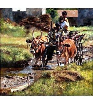 Bullock Cart - Realistic Painting