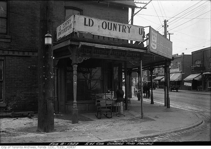 Old Country Furniture-\ store, SW corner of Dundas & Pacific Ave. - Feb 8, 1922.