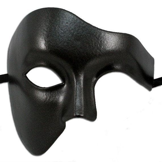 Black Phantom Of The Opera Mens Mask Masquerade Ball Masks for Men Halloween Half Face on Etsy, $24.00