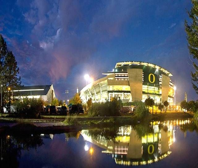 University of Oregon Ducks - Autzen Stadium at night