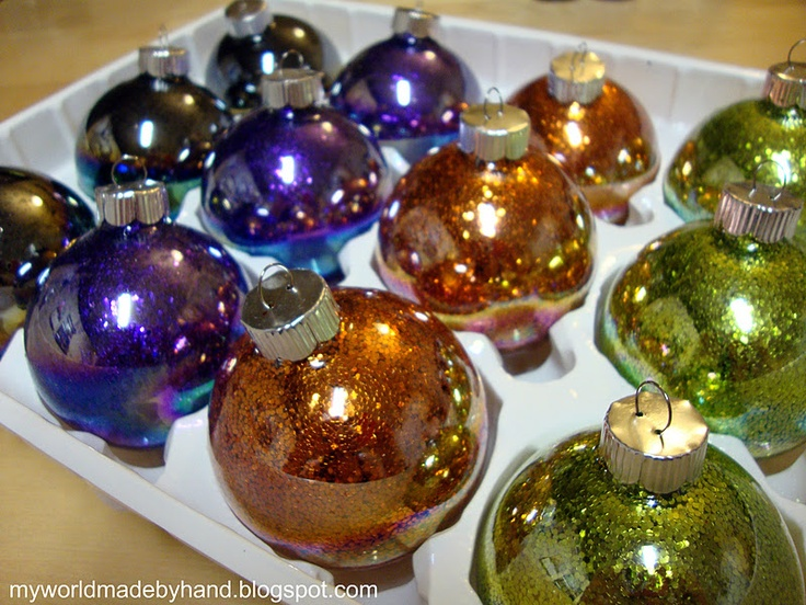 My World - Made By Hand: How to make Glitter Ornaments: Glitter Ornaments, Ornaments Tutorials, Glasses Ornaments, Diy Ornaments, Holidays Ideas, Holidays Parties Ideas, Diy Glitter, Christmas Ornaments, Floors Cleaners