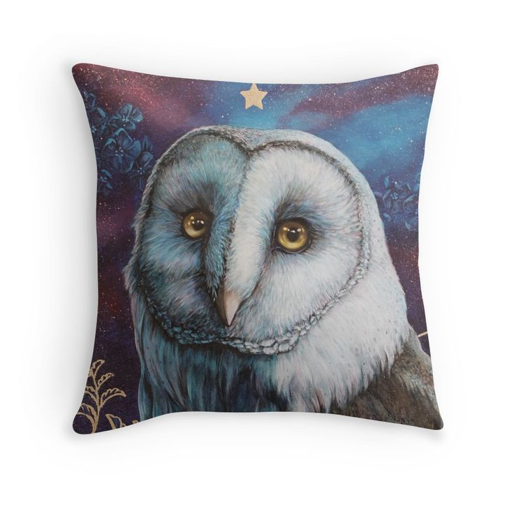 This pillow design has a colourful portrait of a magical barn owl.