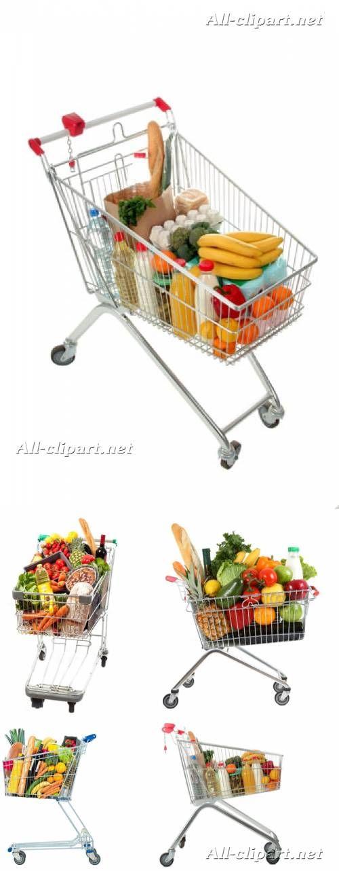 Тележки для покупок в супермаркете с продуктами - клипарт | Shopping cart