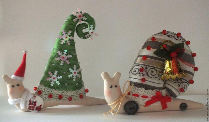 Купить Улитка Тильда - зеленый, тильда, улитка, улитка Тильда, подарок на новый год, текстильная игрушка