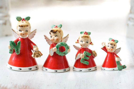 Rare Vintage Noel Christmas Bell Angel Ornaments by HouseofSeance