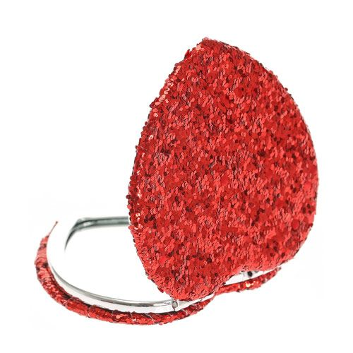 Red Glitter Heart Compact Mirror