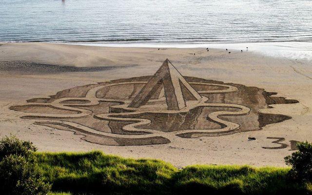Des dessins 3D sur les plages de Nouvelle-Zélande