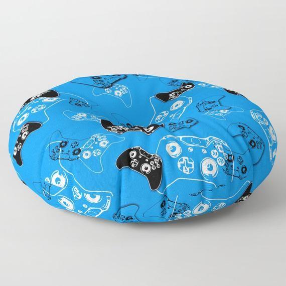 Gamer Floor Pouf, Floor Pillow Seating, Video Game Pillow, Gamer Pillow, Blue Gamer Room, Man Cave P