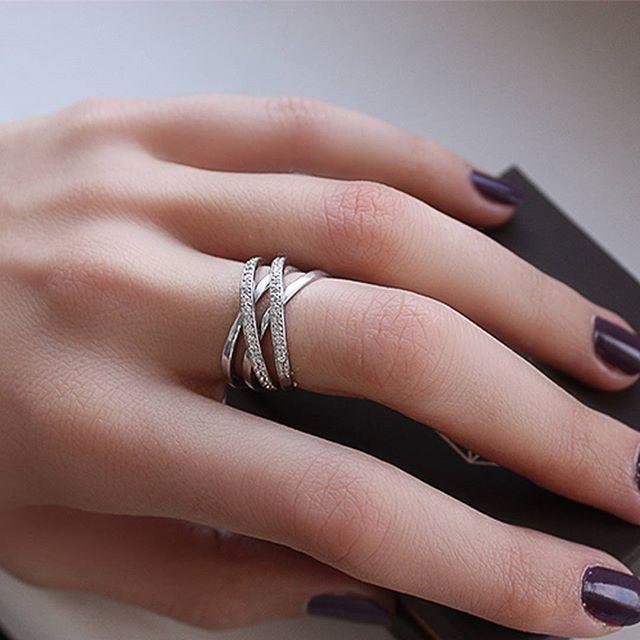 """Серебряное кольцо """"Четыре в одном"""" с фианитами.  #zlato_ua #jewelry #silver #украшения #ring #кольцо"""