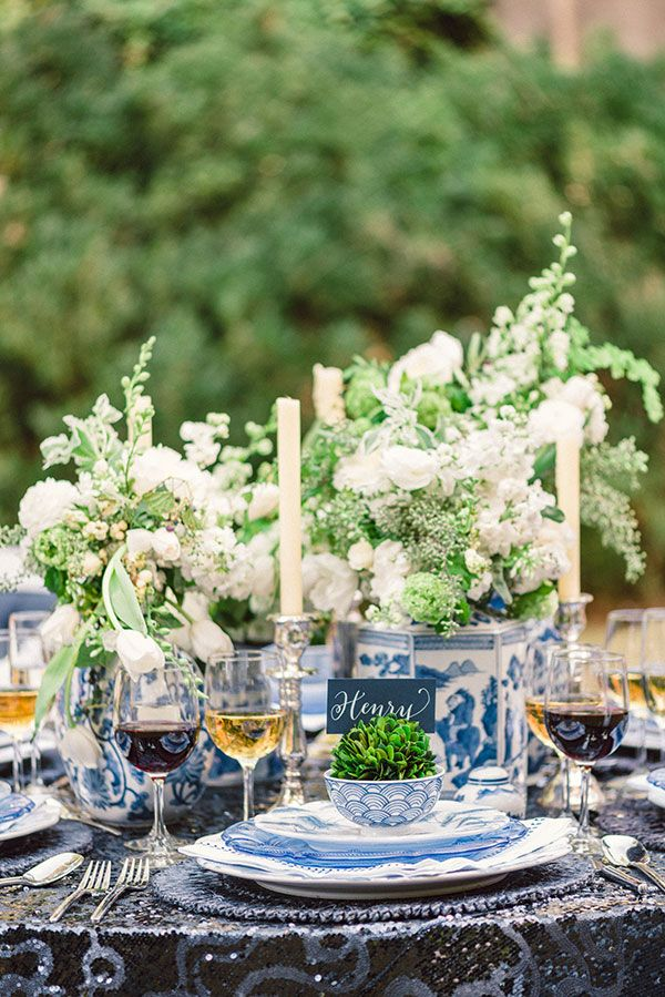 Centerpiece - white and blue!