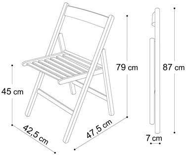medidas de una silla plegable de madera ile ilgili görsel sonucu