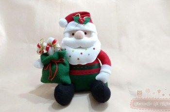 Passo a Passo: Papai Noel de Feltro Sentado + MOLDES