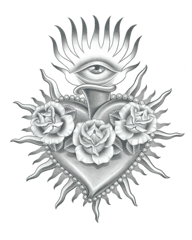 realistic sacred heart drawing - Google Search | Tattoo ...
