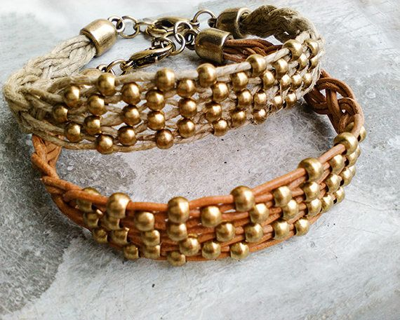 Brown leather boho bracelet with woven bronze beads, braided beaded bracelet, ethnic bohemian jewelry, best friends gifts same sex couple