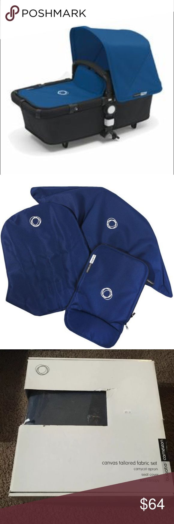 Bugaboo cameleon Bugaboo cameleon dark blue canvas fabric set.  Content tailored apron tailored sun canopy seat fabric and user guide bugaboo Other