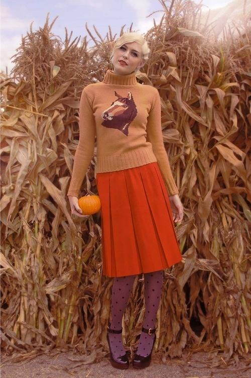 horse sweater, orange skirt & polka dot tights for #fall