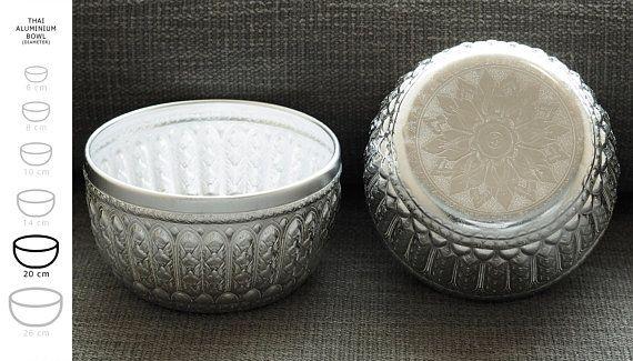 Vintage Aluminium 20 cm bowl engraved with traditional thai   THAI